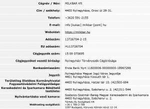 MILKBAR Kft - Információk